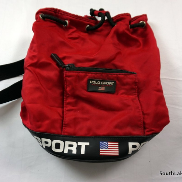 7e4408cd227a VTG 90s Polo Sport Spellout Round Tote Bag 13